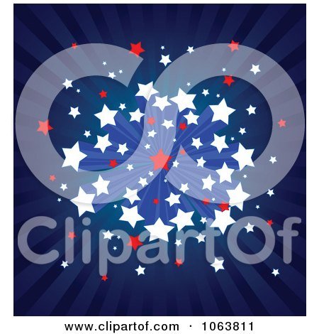 Clipart American Ray And Starburst Background - Royalty Free Vector Illustration by Pushkin