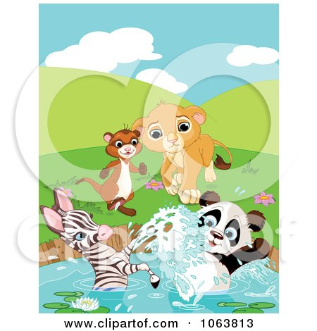 Clipart Ferret, Lion, Zebra And Panda At A Pond - Royalty Free Vector Illustration by Pushkin