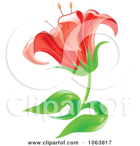 Clipart Red Lily Flower - Royalty Free Vector Illustration by Vector Tradition SM