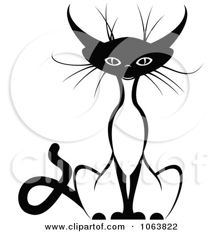 Clipart Sitting Siamese Cat Black And White 2 - Royalty Free Vector Illustration by Vector Tradition SM