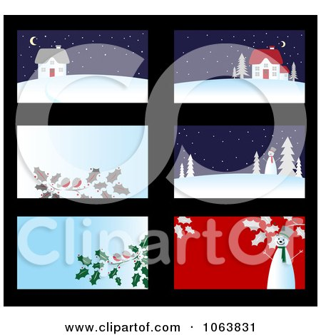 Clipart Christmas Business Cards Backgrounds 1 - Royalty Free Vector Illustration by Vector Tradition SM
