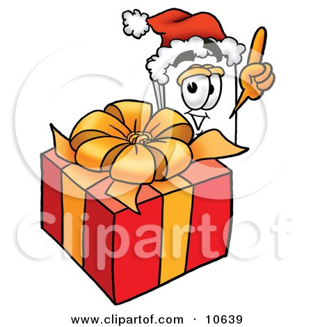 Clipart Picture of a Paper Mascot Cartoon Character Standing by a Christmas Present by Toons4Biz