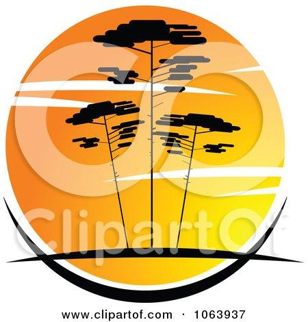 Clipart Acacia Trees At Sunset Logo 3 - Royalty Free Vector Illustration by Vector Tradition SM