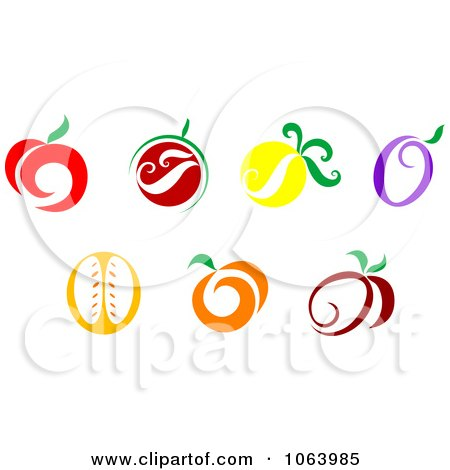 Clipart Fruit Icons Digital Collage - Royalty Free Vector Illustration by Vector Tradition SM