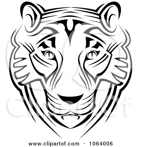 Clipart Tribal Tiger Face - Royalty Free Vector Illustration by Vector Tradition SM