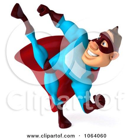 Clipart 3d Super Dude Kicking 1 - Royalty Free CGI Illustration by Julos