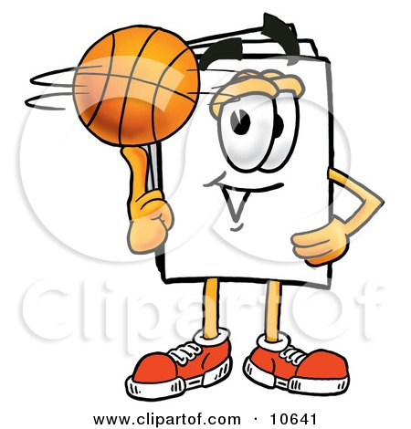 Clipart Picture of a Paper Mascot Cartoon Character Spinning a Basketball on His Finger by Toons4Biz