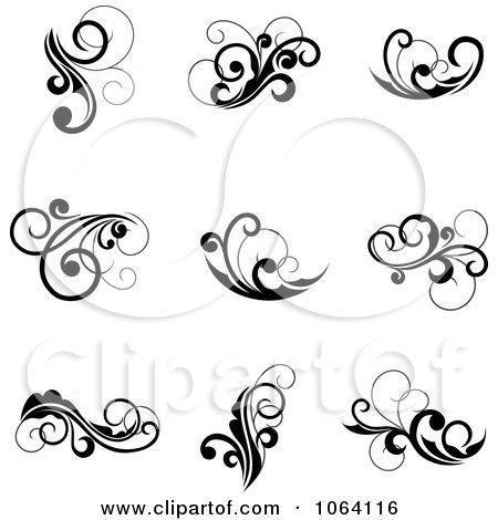 clipart flourish scrolls in black in white digital collage 6 rh clipartof com clipart scrolls and flourishes clipart scrolls and borders