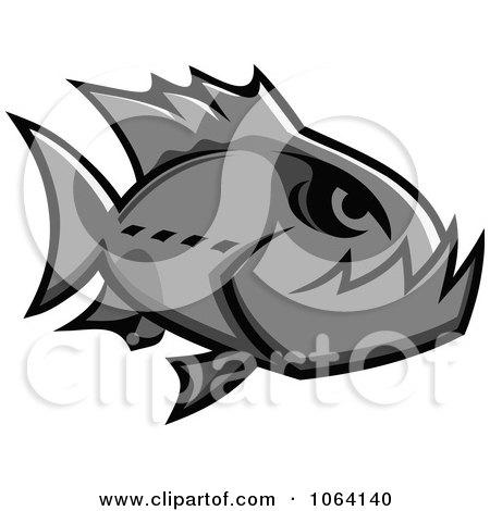Clipart Gray Piranha Fish - Royalty Free Vector Illustration by Vector Tradition SM