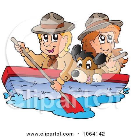 Clipart Boy And Girl Scout Boating With A Dog 1 - Royalty Free Vector Illustration by visekart