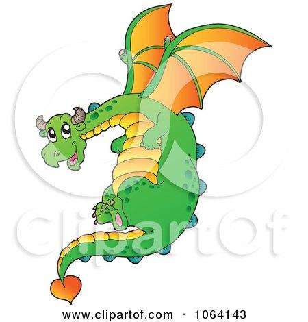 Clipart Green Dragon In Flight - Royalty Free Vector Illustration by visekart