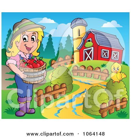 Clipart Female Apple Farmer With Chick And Barn - Royalty Free Vector Illustration by visekart