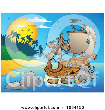 Clipart Tropical Island And Shipwreck - Royalty Free Vector Illustration by visekart
