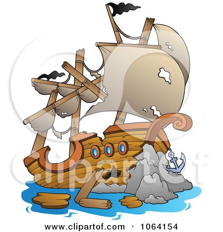 Clipart Wrecked Ship - Royalty Free Vector Illustration by visekart