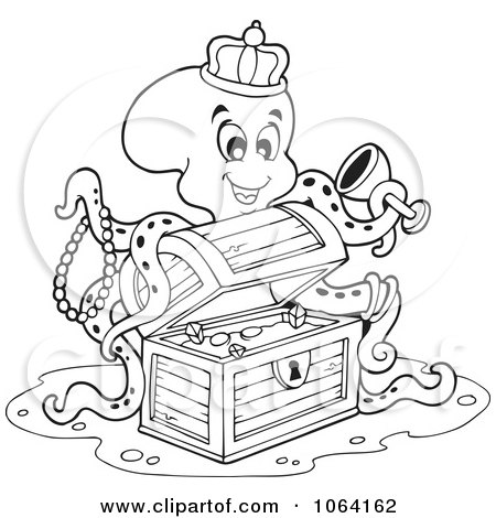 Clipart Outlined Octopus Discovering Treasure - Royalty Free Vector ...