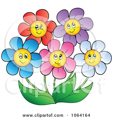 Clipart Happy Colorful Daisy Flowers 2 - Royalty Free Vector Illustration by visekart