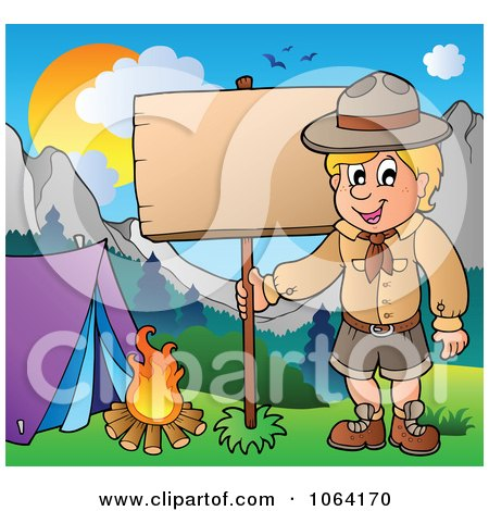 Camping Scout Boy With A Wood Sign
