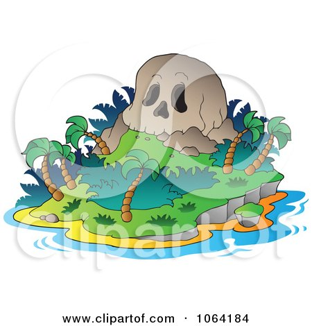 Clipart Skull Mountain Tropical Island - Royalty Free Vector Illustration by visekart