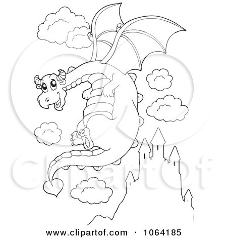 Clipart Outlined Dragon In Flight - Royalty Free Vector Illustration by visekart