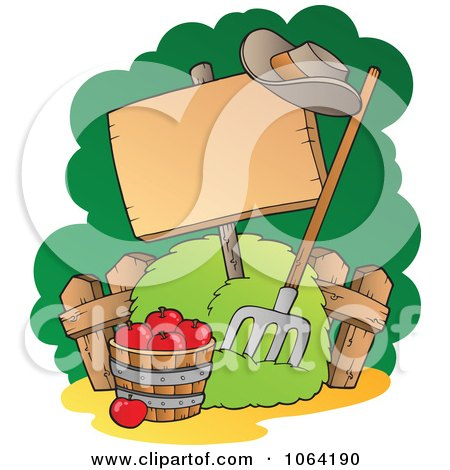 Clipart Bushel Of Apples, Pitchfork And Blank Sign - Royalty Free Vector Illustration by visekart