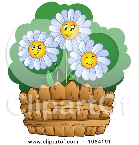 Clipart Happy Daisies By A Fence - Royalty Free Vector Illustration by visekart