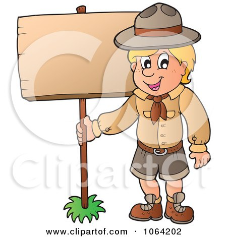 Scout Boy With A Wood Sign Posters, Art Prints