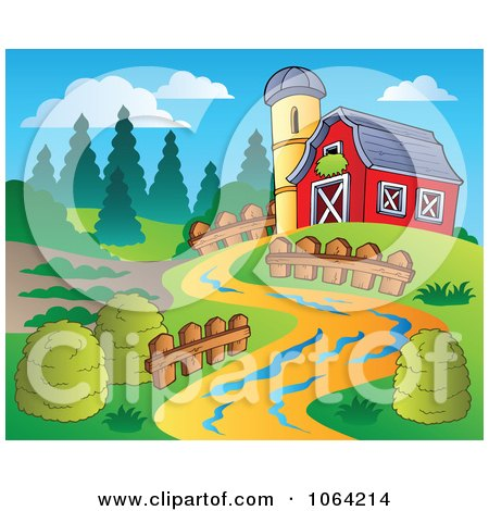 Clipart Path Leading To A Barn - Royalty Free Vector Illustration by visekart