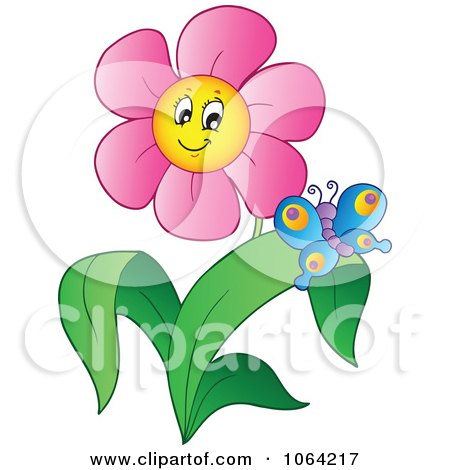Clipart Butterfly And Pink Daisy - Royalty Free Vector Illustration by visekart
