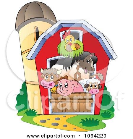clipart barnyard animals in a barn royalty free vector rh clipartof com barnyard clip art outline barnyard clipart black and white
