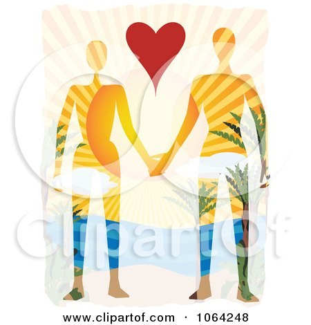 Clipart Couple Holding Hands In Paradise - Royalty Free Vector Illustration by mheld