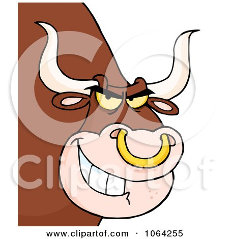 Clipart Grinning Bull With A Nose Ring - Royalty Free Vector Illustration by Hit Toon
