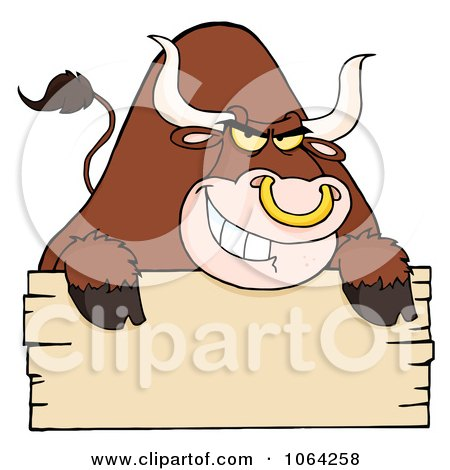 Clipart Tough Bull And Blank Sign - Royalty Free Vector Illustration by Hit Toon