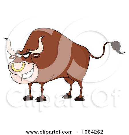 Clipart Tough Bull - Royalty Free Vector Illustration by Hit Toon