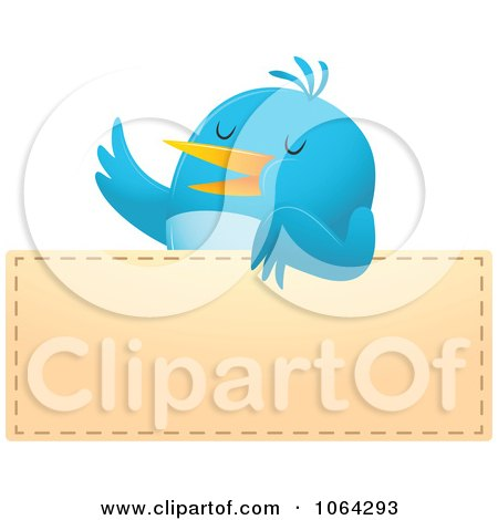 Clipart Blue Bird Over A Blank Sign - Royalty Free Vector Illustration by Qiun