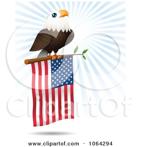 Clipart Bald Eagle On An American Flag Branch - Royalty Free Vector Illustration by Qiun