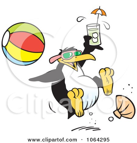 Clipart Happy Penguin At The Beach - Royalty Free Vector Illustration by Johnny Sajem