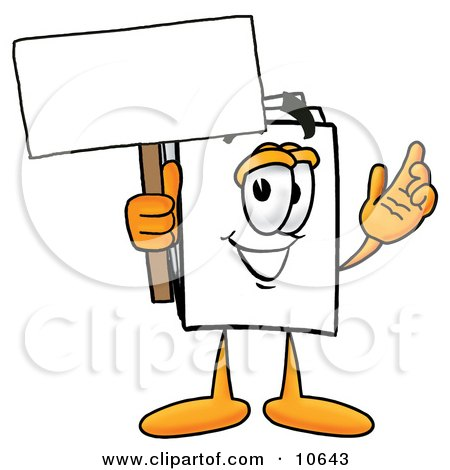 Clipart Picture of a Paper Mascot Cartoon Character Holding a Blank Sign by Toons4Biz