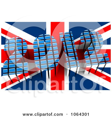 Clipart 3d 2012 And British Flag - Royalty Free CGI Illustration by MacX