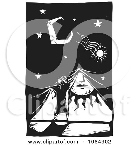 Clipart Woodcut Of Covering The Sun For Night - Royalty Free Vector Illustration by xunantunich