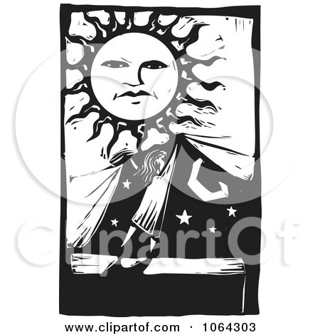 Clipart Woodcut Of Covering The Night For Day - Royalty Free Vector Illustration by xunantunich
