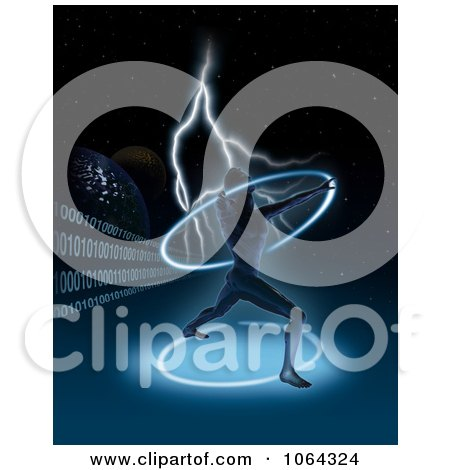 Clipart Futuristic Man With A Glowing Ring, Lightning And Binary - Royalty Free Illustration by dero