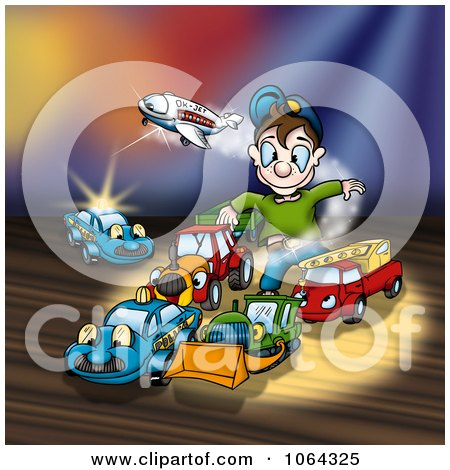 Clipart Boy Playing With His Live Toys - Royalty Free Illustration by dero