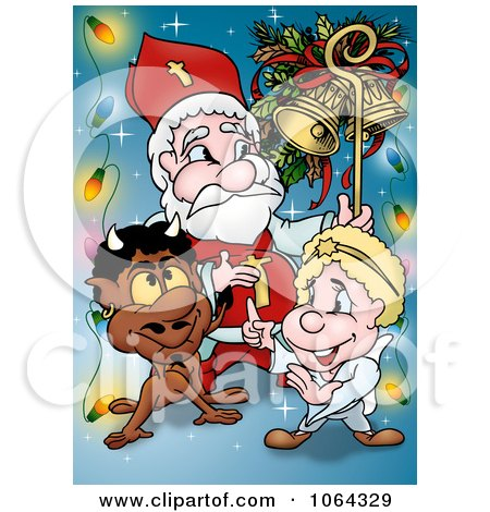 Clipart Devil And Angel With Santa - Royalty Free Illustration by dero