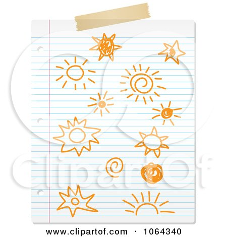 Clipart Doodled Suns On Ruled Paper - Royalty Free Vector Illustration by KJ Pargeter