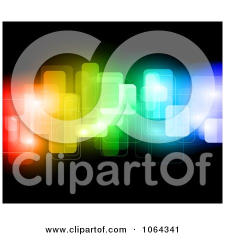 Clipart Abstract Colorful Blocks On Black - Royalty Free Vector Illustration by KJ Pargeter