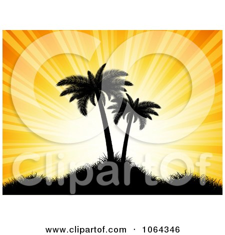 Clipart Silhouetted Palm Trees And Orange Rays - Royalty Free Vector Illustration by KJ Pargeter