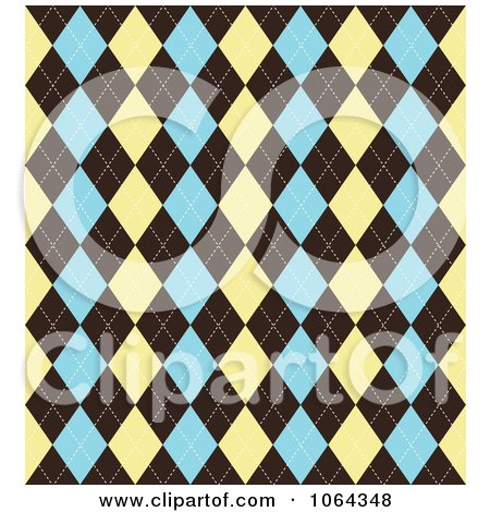 Clipart Argyle Pattern In Tan, Brown And Blue - Royalty Free Vector Illustration by KJ Pargeter