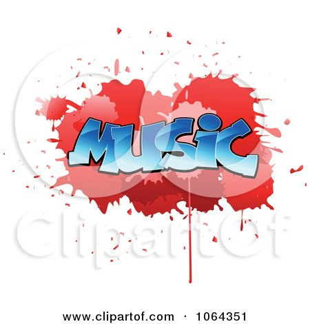 Clipart Comic Splatter With Music Text - Royalty Free Vector Illustration by Vector Tradition SM