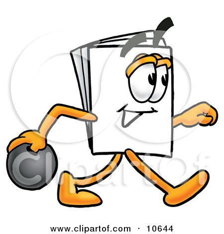 Clipart Picture of a Paper Mascot Cartoon Character Holding a Bowling Ball by Toons4Biz