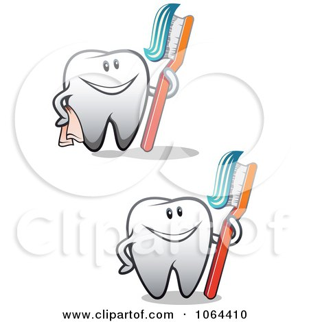 Clipart Happy Teeth With Brushes Digital Collage - Royalty Free Vector Illustration by Vector Tradition SM
